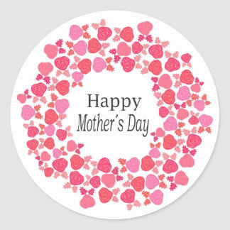 Red & Pink Roses Mother's Day Round Sticker