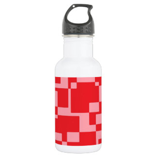 Red-pink squares 532 ml water bottle