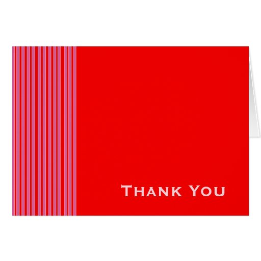 Red Pink Striped Thank You Card