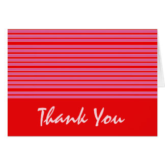 Red Pink Striped Thank You Greeting Card