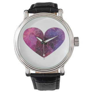 Red Pink Violet Polygonal Heart Watch