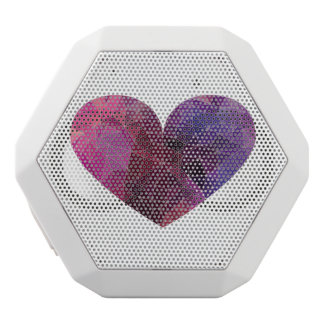 Red Pink Violet Polygonal Heart White Bluetooth Speaker