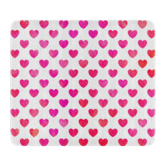 Red Pink Watercolor Hearts Cutting Board