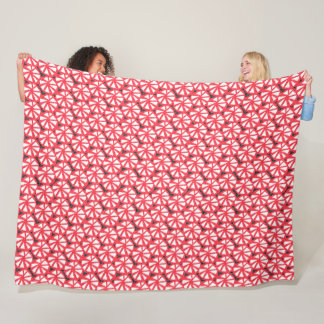 red pinwheels fleece blanket