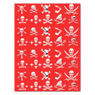 RED PIRATE BANNERS SKULL,CROSSED BONES,SWORDS TISSUE PAPER