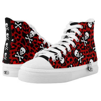 Red Pirate Rockabilly Psychobilly Leopard Print High Tops