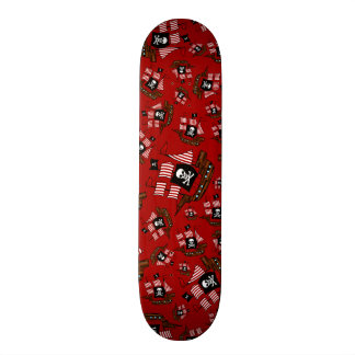 Red pirate ship pattern skateboard decks