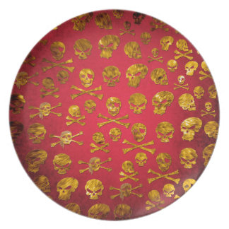 Red pirate skulls plate