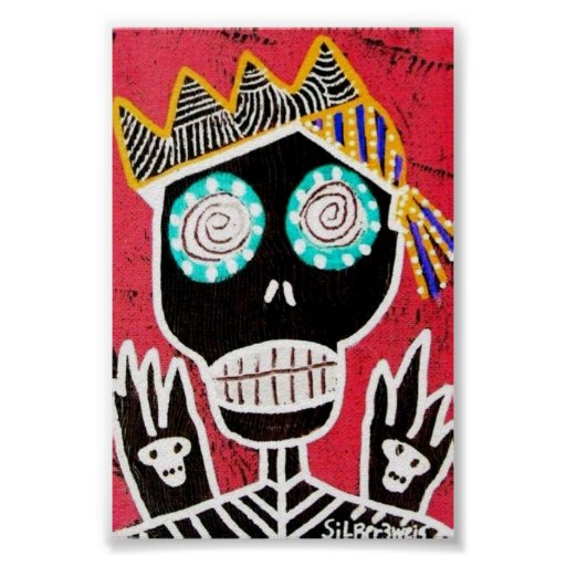 Red Pirate Sugar Skull Poster