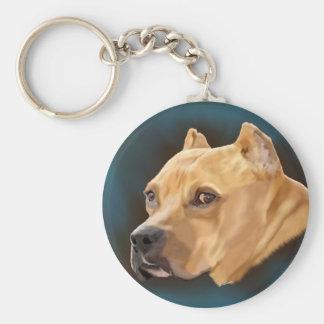 Red Pitbull Dog Basic Round Button Keychain