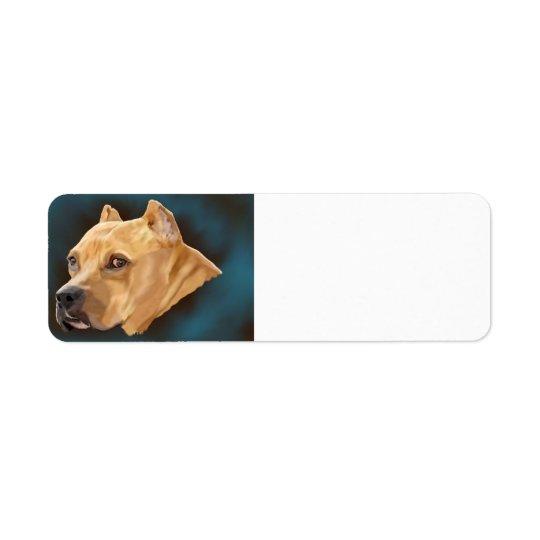 Red Pitbull Dog Return Address Label