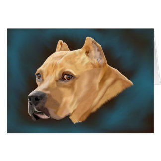 Red Pitbull Terrier Dog Portrait Greeting Card