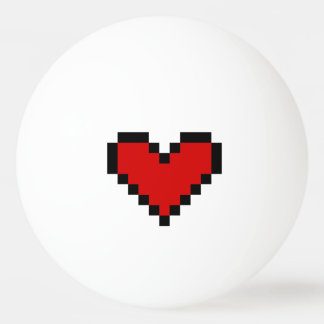 Red pixel heart ping pong ball for table tennis