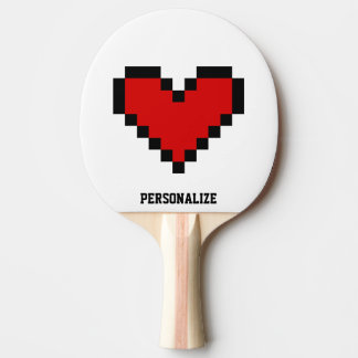 Red pixel heart table tennis ping pong paddle