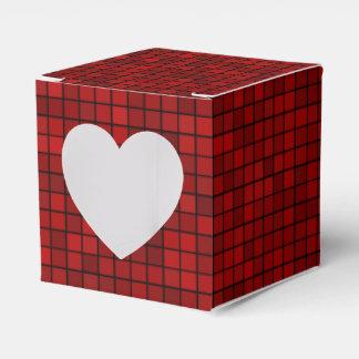 Red Pixel Pattern Heart 2x2 Favor Box
