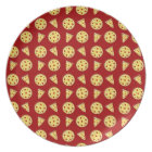 Red pizza pattern plate