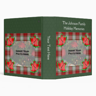 Red Plaid And Festive Bells Holiday Christmas 3 Ring Binders