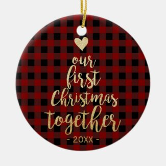 Red plaid and gold text couple photo ornament