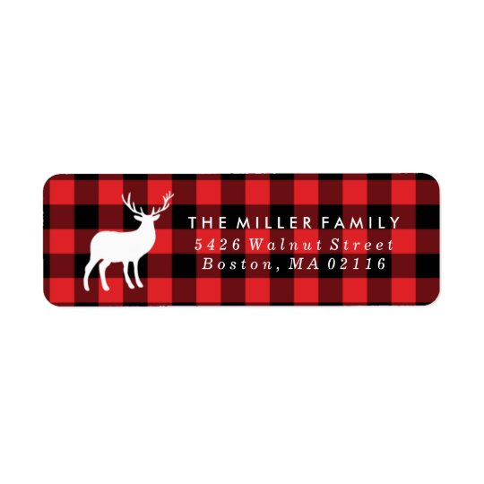 Red Plaid and White Stag | Holiday Return Address Label