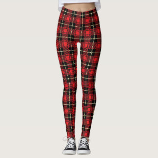 Red Plaid Background Leggings