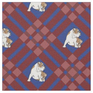 Red Plaid Bulldog Fabric