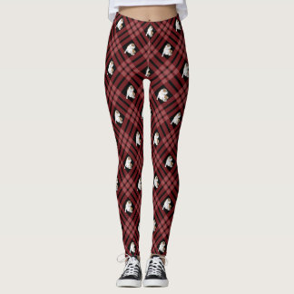 Red Plaid Bulldog Leggings