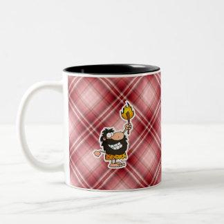 Red Plaid Cartoon Caveman Coffee Mug
