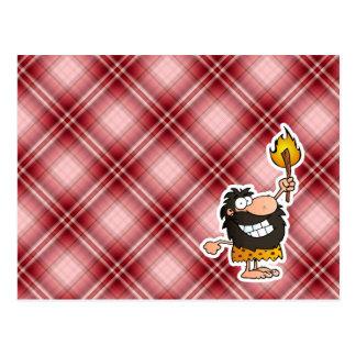 Red Plaid Cartoon Caveman Postcard