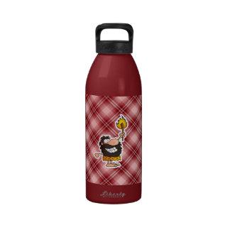 Red Plaid Cartoon Caveman Drinking Bottle