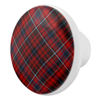 Red Plaid Ceramic Knob