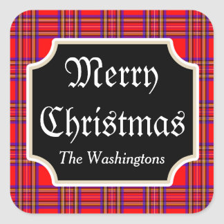 Red Plaid Christmas Stickers