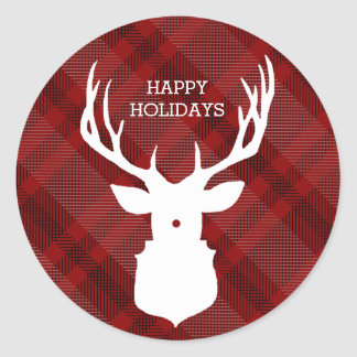 RED PLAID DEER | STYLISH HOLIDAY STICKERS