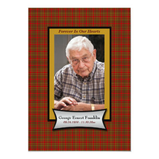 """Red Plaid Flannel Memorial Card with Photo 5"""" X 7"""" Invitation Card"""