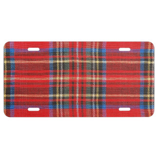 Red Plaid Flannel Print License Plate