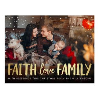 Red Plaid & Gold Faith Love Family Christmas Photo Postcard