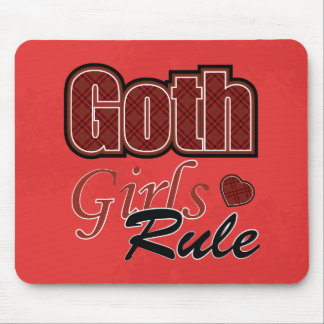 Red Plaid Goth Girls Rule Saying Mouse Pad