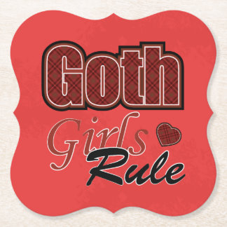 Red Plaid Goth Girls Rule Saying Paper Coaster