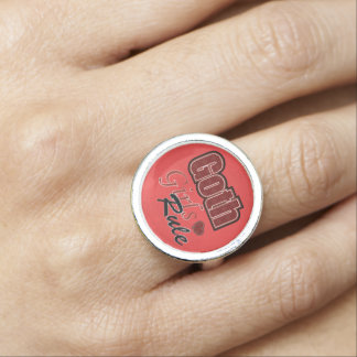 Red Plaid Goth Girls Rule Saying Photo Rings