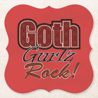 Red Plaid Goth Gurlz Rock Saying Paper Coaster