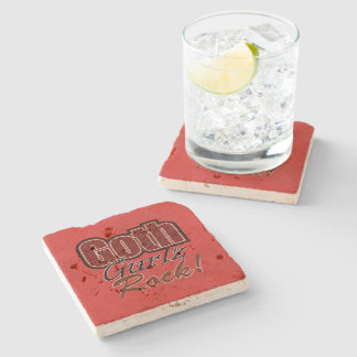 Red Plaid Goth Gurlz Rock Saying Stone Coaster