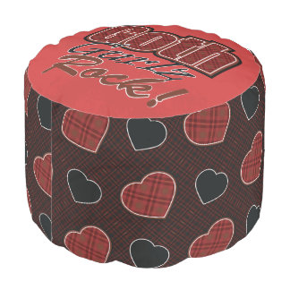 Red Plaid Goth Gurlz Rock Saying With Pattern Pouf