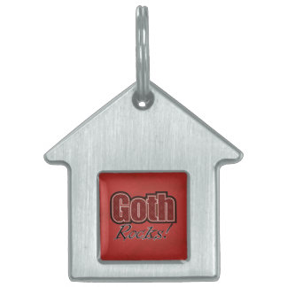 Red Plaid Goth Rocks Saying Pet Tag