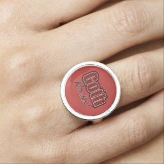 Red Plaid Goth Rocks Saying Rings
