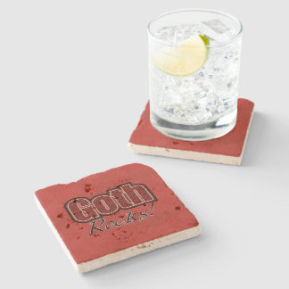 Red Plaid Goth Rocks Saying Stone Coaster