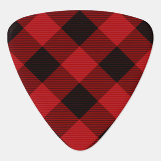 Red Plaid Guitar Pick