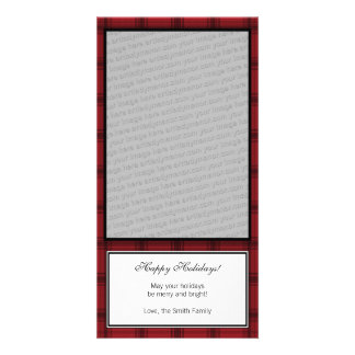 Red Plaid Happy Holidays Vertical Photo Card