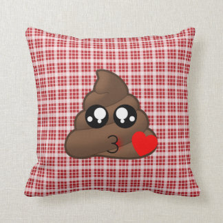 Red Plaid Heart Poop Emoji Throw Pillow