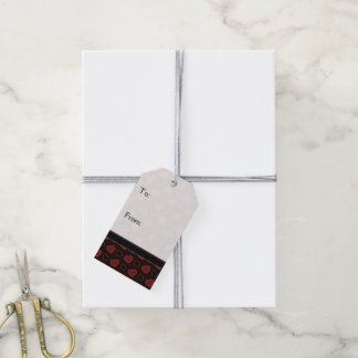 Red Plaid Hearts Pattern With Border Gift Tags