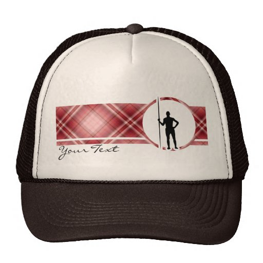 Red Plaid Javelin Throw Trucker Hats