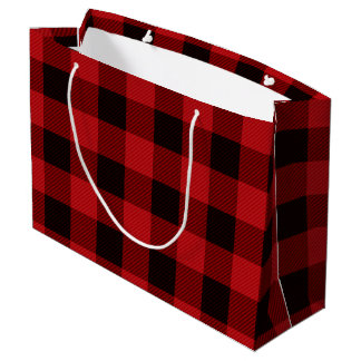 Red Plaid Large Gift Bag